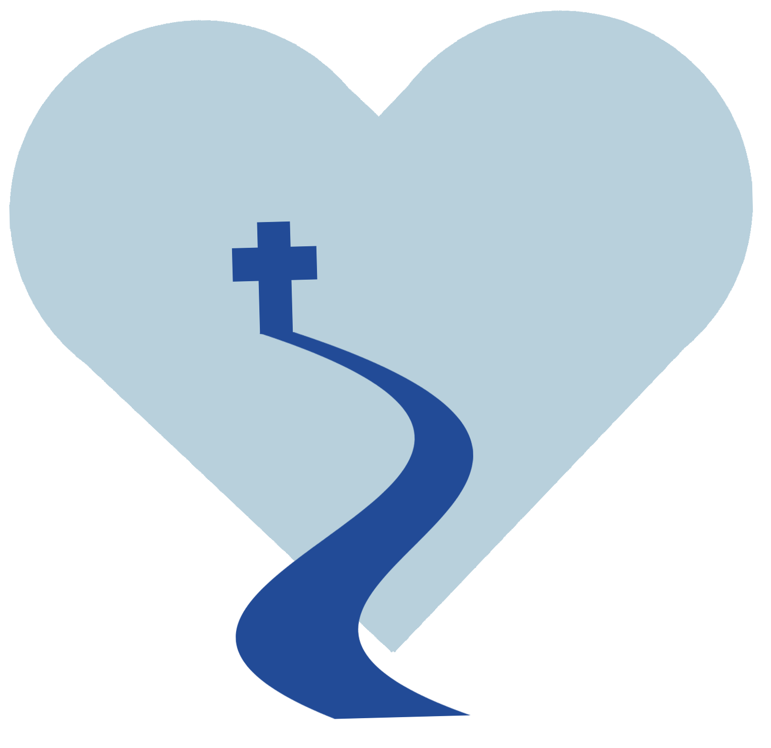 A heart with a cross in the middle and a path leading to it