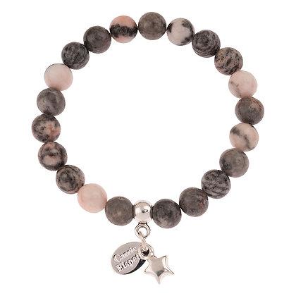 Pink Zebra Jasper Gemstone Bracelet (Star or Heart Charm)
