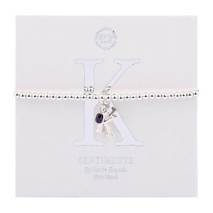 Letter 'K' Sentiment Bracelet
