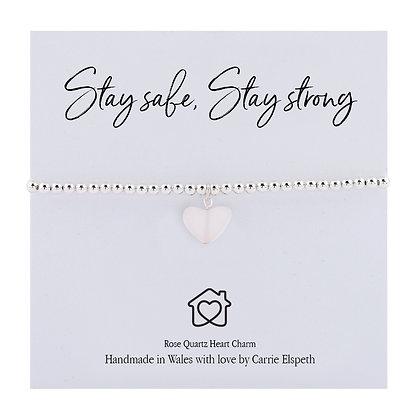 Stay Safe, Stay Strong Rose Quartz Sentiment Bracelet