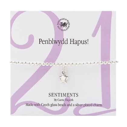 Penblwydd Hapus 21! Sentiment Bracelet