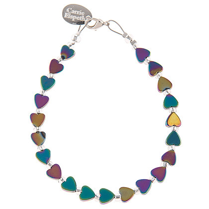 Rainbow Haematite Hearts Bracelet