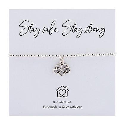 Stay Safe, Stay Strong Sentiment Bracelet