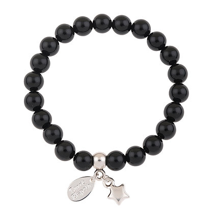 Black Onyx Gemstone Bracelet (Star or Heart Charm)
