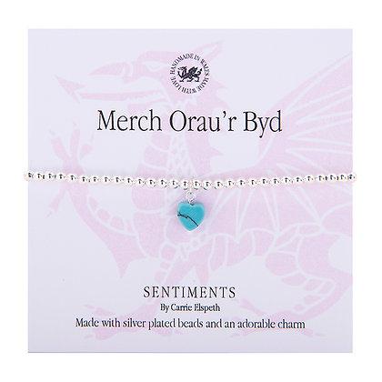 World's Greatest Daughter/Merch Orau'r Byd Sentiment Bracelet
