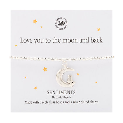 Love you to the moon and back Sentiment Bracelet
