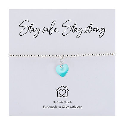 Stay Safe, Stay Strong Coloured Heart Sentiment Bracelet - More Colours