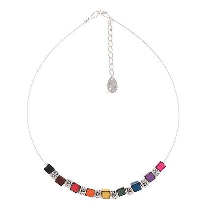 Rainbow Cubes & Drums Necklace