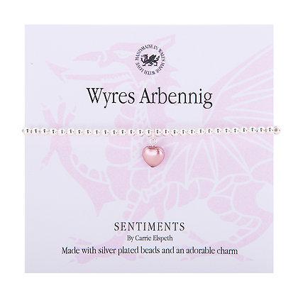 Special Granddaughter/Wyres Arbennig Sentiment Bracelet