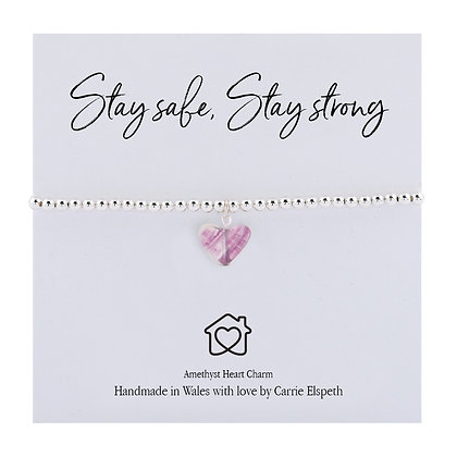 Stay Safe, Stay Strong Amethyst Sentiment Bracelet