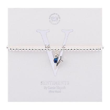 Letter 'V' Sentiment Bracelet