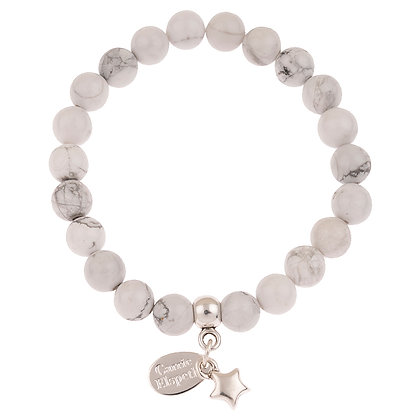 Howlite Heart Gemstone Bracelet (Star or Heart Charm)