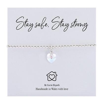 Stay Safe, Stay Strong Crystal Heart Sentiment Bracelet