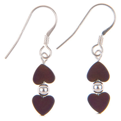 Mulberry Frosted Kissing Hearts Earrings