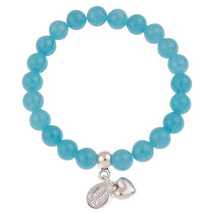 Blue Sponge Gemstone Bracelet (Star or Heart Charm)