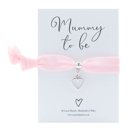 Mummy to be Heart Charm Baby Pink Colourband