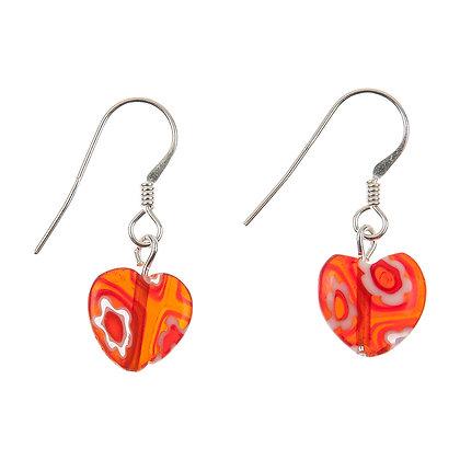 Red Millefiori Heart Earrings