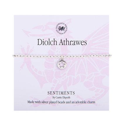 Diolch Athrawes/ Thanks Teacher Sentiment Bracelet
