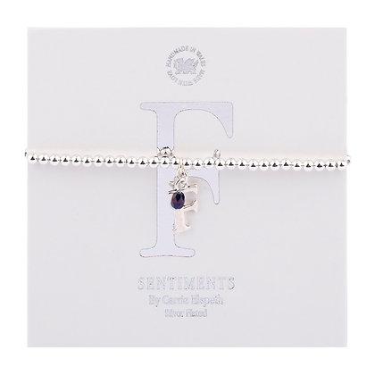 Letter 'F' Sentiment Bracelet