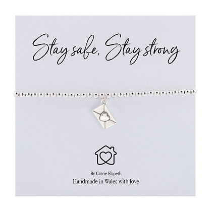 Stay Safe, Stay Strong Heart Letter Sentiment Bracelet