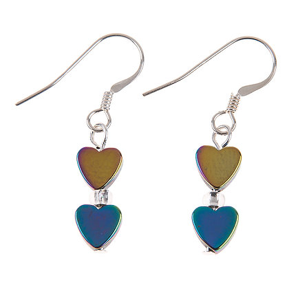 Rainbow Haematite Hearts Earrings