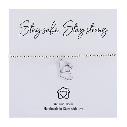 Stay Safe, Stay Strong Entwined Heart Sentiment Bracelet