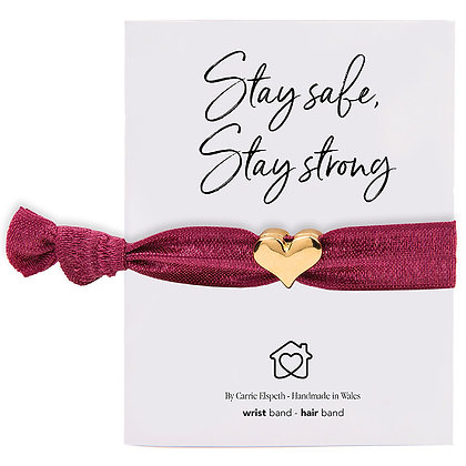 Stay Safe, Stay Strong Gold Heart Charm Berry Colourband