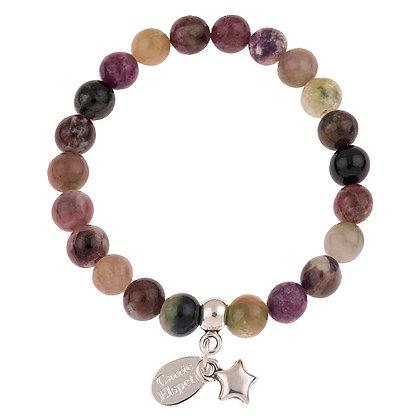 Tourmaline Gemstone Bracelet (Star or Heart Charm)