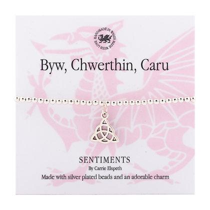 Live, Laugh, Love - Byw, Chwerthin, Caru Sentiment Bracelet