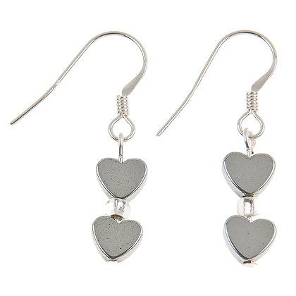 Mini Haematite Heart Earrings