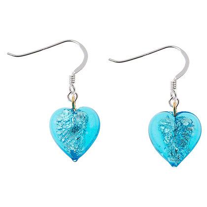 Silver Lined Turquoise Heart Earrings