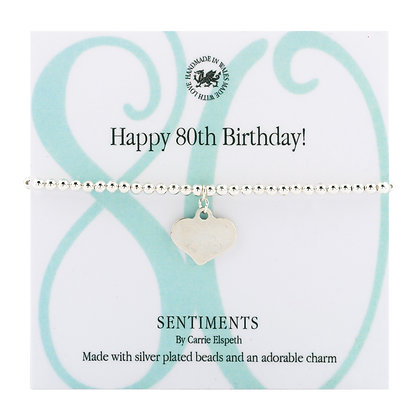Happy 80th Birthday! Sentiment Bracelet