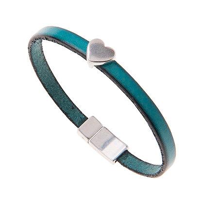 Leather Heart Charm Bracelet (more colours available)