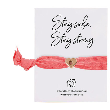 Stay Safe, Stay Strong Rose Gold Heart Charm Coral Colourband