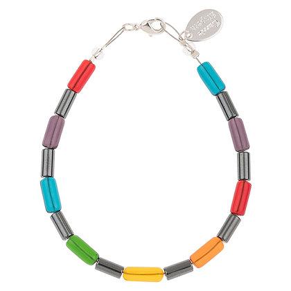 Rainbow Hematite Tubes Bracelet