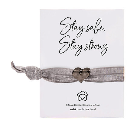 Stay Safe, Stay Strong Black Heart Charm Grey Colourband