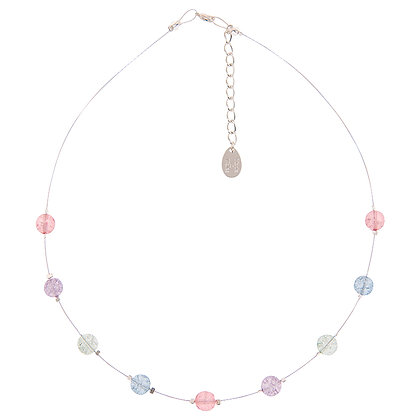 Pastel Crackle Globes Spaced Necklace