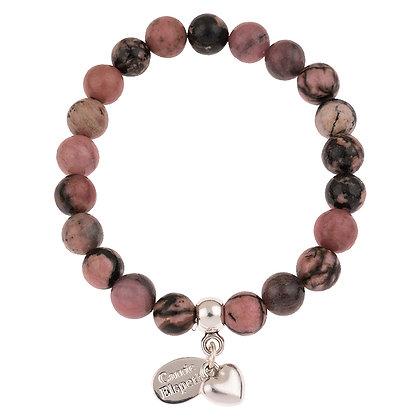 Rhodonite Gemstone Bracelet (Star or Heart Charm)