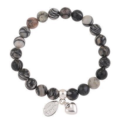 Black Veined Jasper Gemstone Bracelet (Star or Heart Charm)