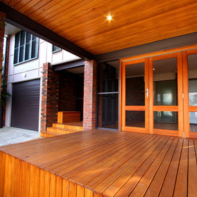 Timber decking ceiling cladding
