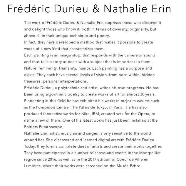 Nathalie Erin and Frederic Durieu