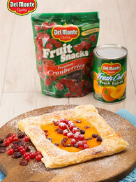 Peach Pastry Tart with Cranberries