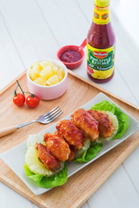 Braised Chicken Wings with Pineapple Ketchup