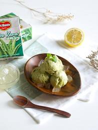 Matcha Ice Cream with Banana and Aloe Vera