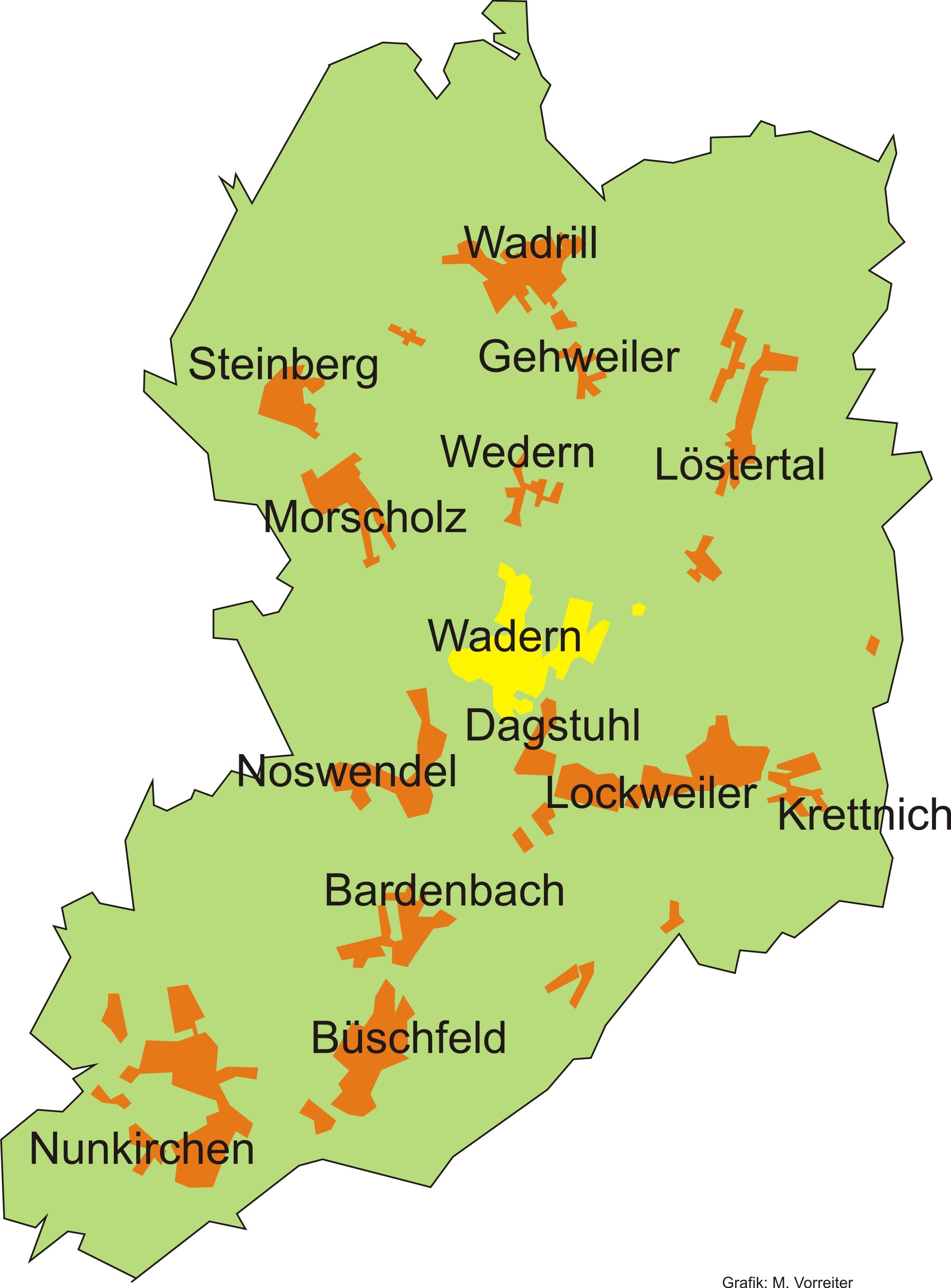 Stadtteile der Stadt Wadern