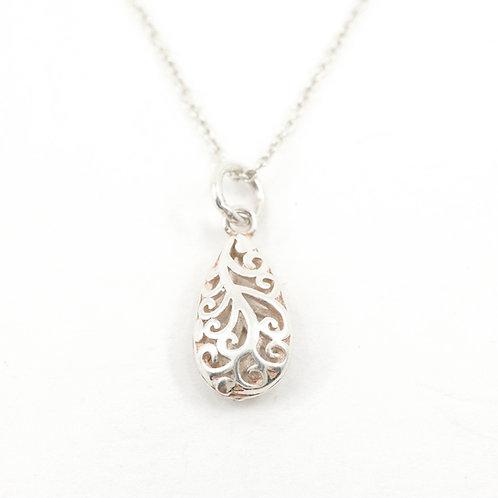 Carved Tear Drop Necklace