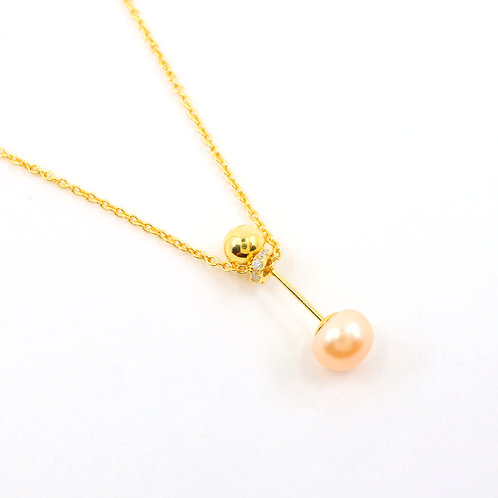 Peach Freshwater Pearl with Gold Ball Necklace