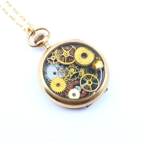 Steampunk Antique Pocket Watch Necklace - Elgin