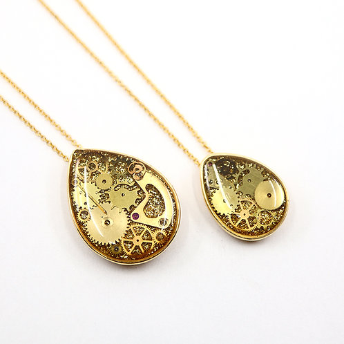Mother & Daughter Steampunk Necklace Set - Gold Tear Drop