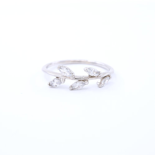 Cubic Zirconia Leaf Ring